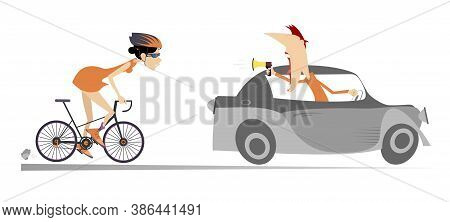 Cyclist Woman And Riding On The Car Coach Or Supporter Illustration. Trainer Or Supporter With Megap