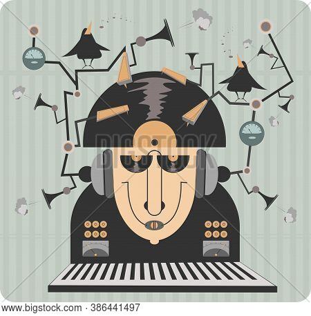 Funny Music Equipment Illustration. Original Funny Old Style Jukebox Concept