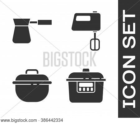 Set Slow Cooker, Coffee Turk, Cooking Pot And Electric Mixer Icon. Vector