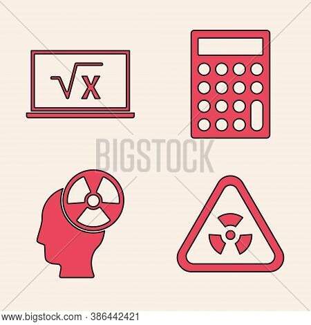 Set Triangle With Radiation, Square Root Of X Glyph, Calculator And Head And Radiation Symbol Icon.