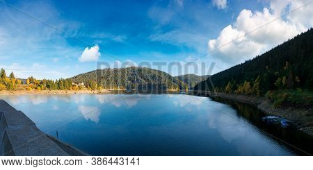 Panorama Of Mountain Lake In Autumn Season. Beautiful Countryside Scenery On A Sunny Morning. Bright