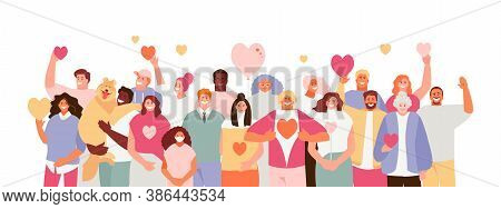 Large Crowd Of People Volunteer With Hearts In Their Hands. Volunteer Day Concept Vector Illustratio