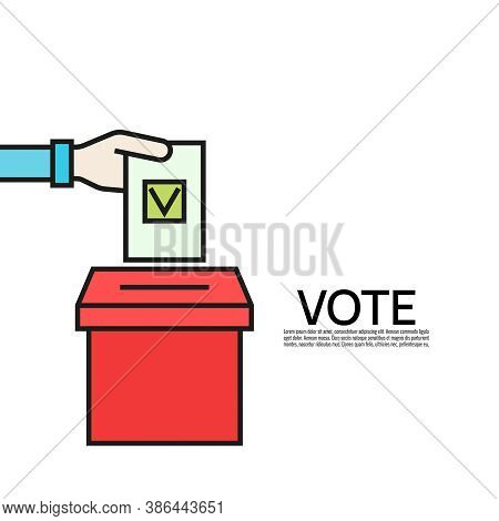 Vector Vote Icon In Flat Style. Hand Putting Ballot Paper In The Voting Box. Election Illustration.