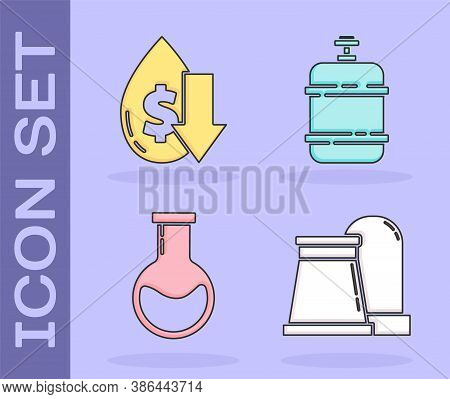 Set Oil And Gas Industrial Factory Building, Drop In Crude Oil Price, Test Tube And Flask And Propan
