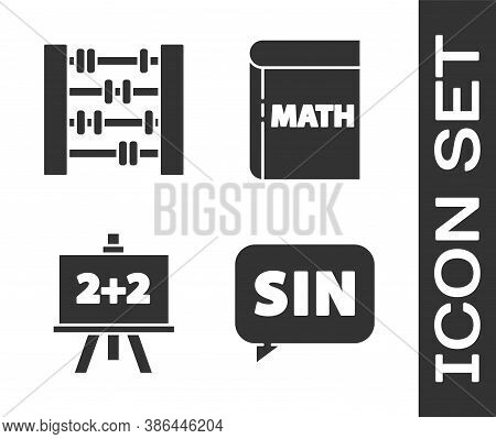 Set Mathematics Function Sine, Abacus, Chalkboard And Book With Word Mathematics Icon. Vector