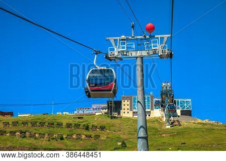 Cabins Of Cable Car To Great Aletsch Glacier, The Largest Glacier In The Alps And Unesco Heritage Fr