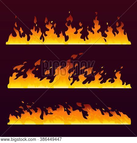 Fire Flames Wall With Burning Trail, Fireball Pattern, Vector Cartoon Background. Hot Blaze Of Sizzl