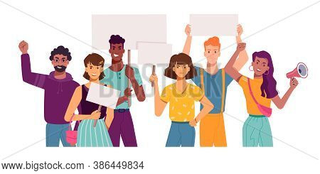 People With Protest Placards And Banners, Holding Signs In Hands, Vector Flat Cartoon. Angry Protest