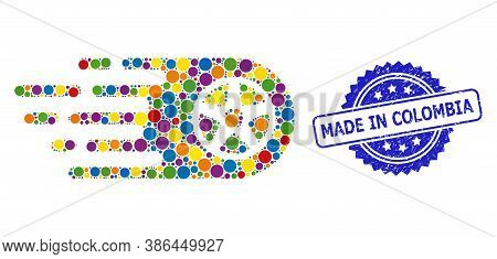 Multicolored Collage Bolide Wheel, And Made In Colombia Scratched Rosette Stamp Seal. Blue Stamp Sea
