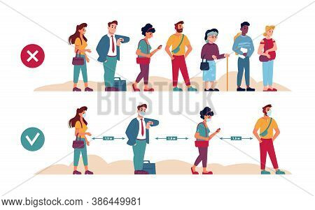 Social Distance Queue Rules, People In Masks In Line, Vector Flat Instruction With Wrong And Right,