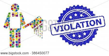 Colored Mosaic Bloody Butcher, And Violation Dirty Rosette Stamp Seal. Blue Stamp Seal Has Violation