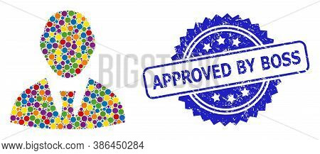 Vibrant Mosaic Boss, And Approved By Boss Corroded Rosette Seal Print. Blue Seal Has Approved By Bos