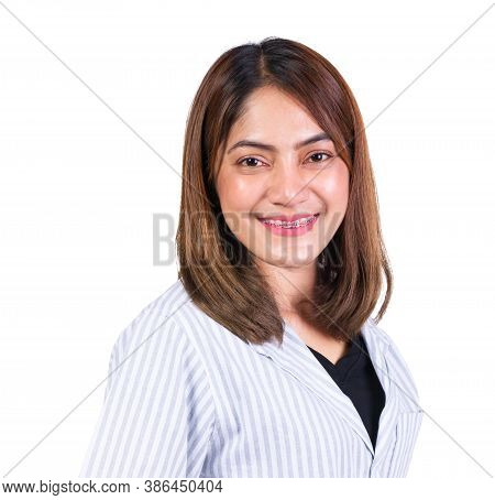 Portrait Of Woman Smile Happy On White Background
