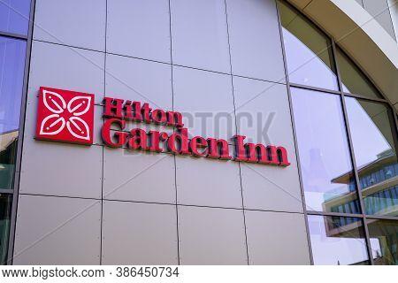 Bordeaux , Aquitaine / France - 09 20 2020 : Hilton Garden Inn Hotel Chain Logo And Sign On Wall Mot