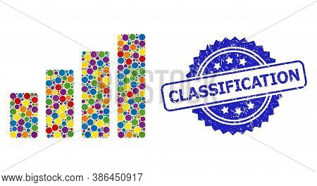 Vibrant Mosaic Bar Chart, And Classification Dirty Rosette Seal Imitation. Blue Stamp Seal Includes