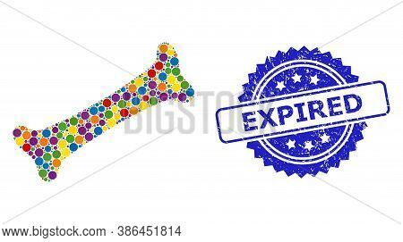 Colorful Collage Bone, And Expired Corroded Rosette Stamp Seal. Blue Stamp Seal Contains Expired Cap