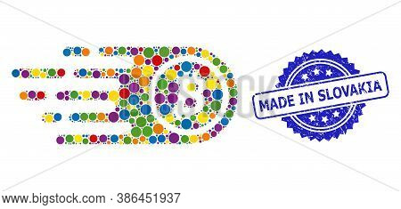 Multicolored Collage Bitcoin, And Made In Slovakia Dirty Rosette Seal. Blue Stamp Seal Has Made In S