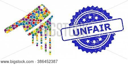 Bright Colored Mosaic Blood Butchery Knife, And Unfair Dirty Rosette Stamp Seal. Blue Stamp Seal Has