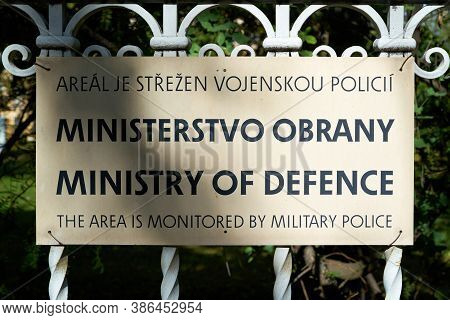 Sign On The Fence Of The Ministry Of Defence In Prague