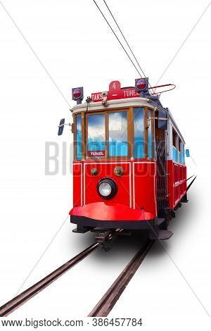 Istanbul Red Retro Tram Isolated On White Background. Travels Between Taksim And Tunnel. Translation
