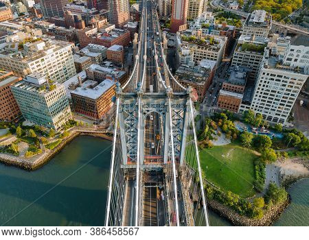 Beautiful View To Manhattan Bridge New York City Awesome Wide Angle Upward View Nyc