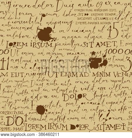 Vector Seamless Pattern With Brown Handwritten Text On The Old Paper Backdrop. Lorem Ipsum. Decorati
