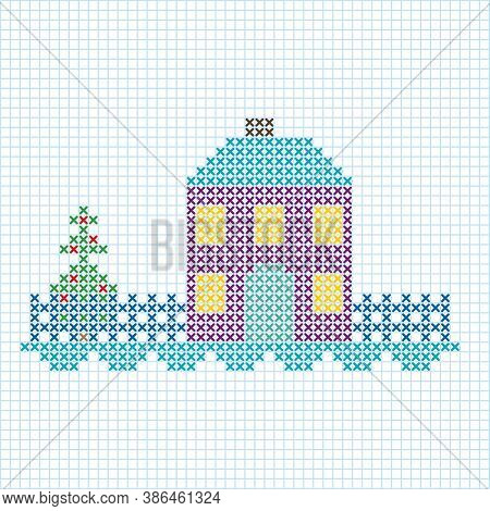The Cross-stitch Winter House Is On The Checkered White Background.