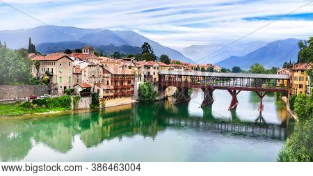 Beautiful medieval towns of Italy -picturesque  Bassano del Grappa with famous bridge,  Vicenza province,  region of Veneto