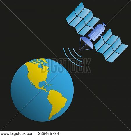 Satellite In Earth Orbit Transmits A Signal To The Earth. Western Hemisphere. America. 5g Technology