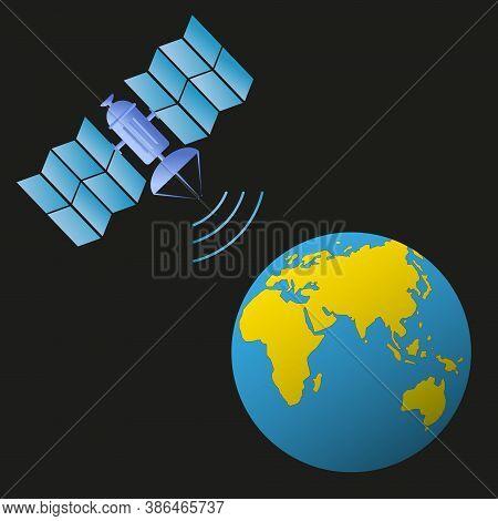 Satellite In Earth Orbit Transmits A Signal To The Earth. Eastern Hemisphere. Europe, Asia, Australi