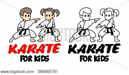 Sparring Of Boy And Girl In Karate Discipline. Martial Arts School For Childrens. Baby Karate Logo.