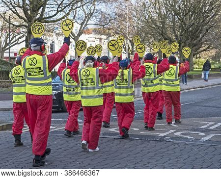 Weston-super-mare, Uk - February 8, 2020: Demonstrators Protest Against Plans For The Expansion Of B