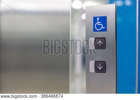 Image Of Disabled Lift Button. Stainless Steel Elevator Panel Push Buttons For Blind And Disability