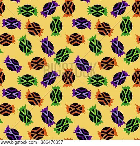 Halloween Candies Seamless Pattern. Black-orange, Black-green And Black-violet Sweets On Yellow Seam