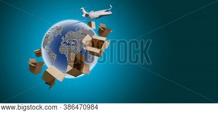 Aerial Of Cargo Ship Carrying Container And Running For Export Goods From Cargo Yard Port To Other O