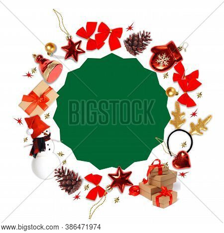 Christmas Round Banner. Template For New Year Cards, Invitations, Banners. Christmas Toys Form A Rou