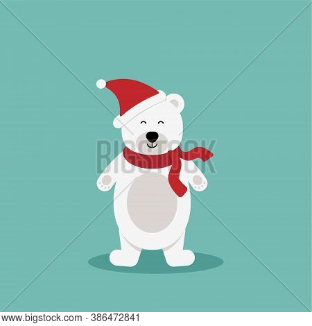 Polar Bear With Red Scarf.vector Cute Cartoon Charcter.chrismas Concept.perfect For Christmas And Ne