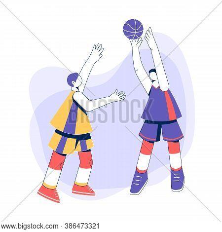 Teenage Boys Playing Basketball Concept. Young Men Training Dribble.