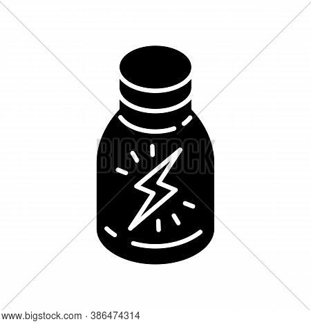 Energy Shot Black Glyph Icon. Caffeinated Beverage. Drink For Stamina. Booze In Glass Bottle. Produc