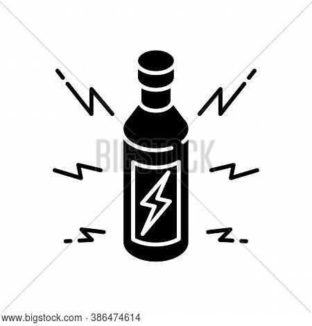 Energy Drink Black Glyph Icon. Beverage For Power Boost. Bottle With Bolt Sign. Energetic Effect. Bo