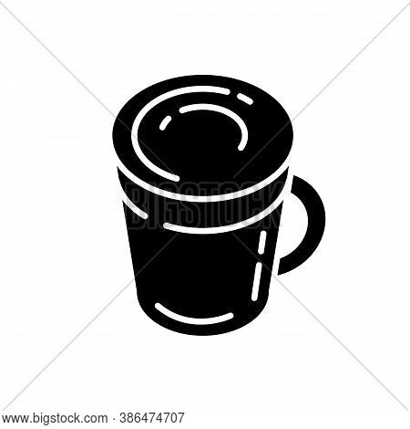 Latte Black Glyph Icon. Coffee Mug. Hot Beverage In Glass Cup. Cappuccino With Foam. Frappe With Fro