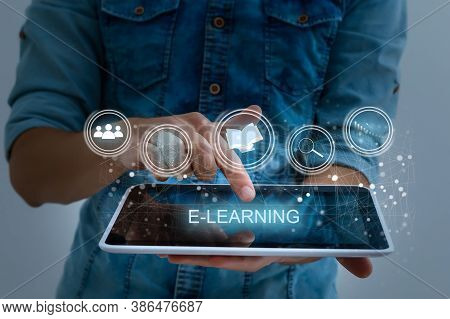 Hand Pressing Learning Word Button. Business Concept. E Learning