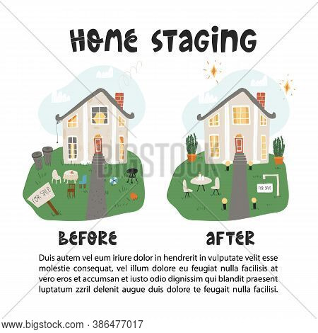 Before And After Home Staging Transformation An Unkempt Courtyard And A Dirty Front Into A Stylish O