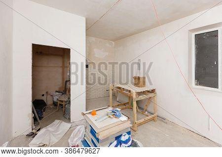 Remodeling Attic Bathroom With Drywall Repair, Plastering Painting, Stucco. Bathroom Repair And Reno