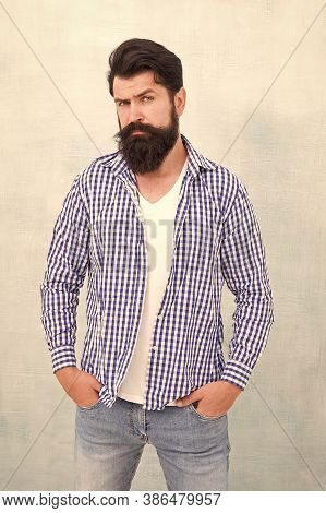 Bearded Man Trendy Hipster Style. Masculinity And Male Beauty Concept. Hipster With Beard And Mustac