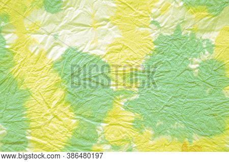 Mud Art. Green And Yellow Colors. Handmade Design. Old Vintage Dirty Art Pattern. Impregnated With C