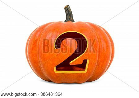Number 2 Halloween Font. Pumpkin With Carved 2, 3d Rendering Isolated On White Background