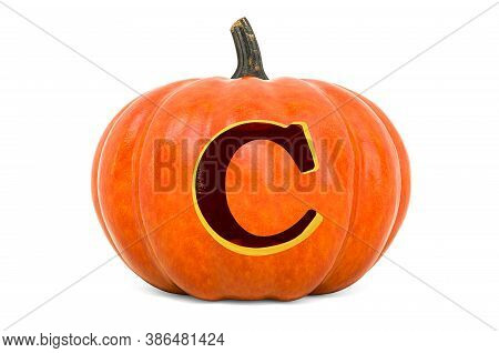 Letter C Halloween Font. Pumpkin With Carved Letter, 3d Rendering Isolated On White Background