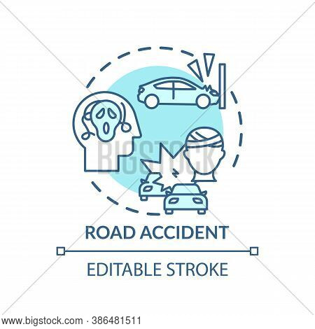 Road Accident Concept Icon. Posttraumatic Stress Disorder Idea Thin Line Illustration. Mentally Reco