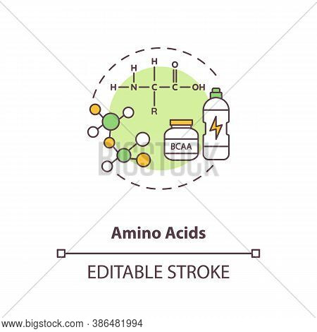 Amino Acids Concept Icon. Energy Beverages Idea Thin Line Illustration. High Amino-acid Content. Org